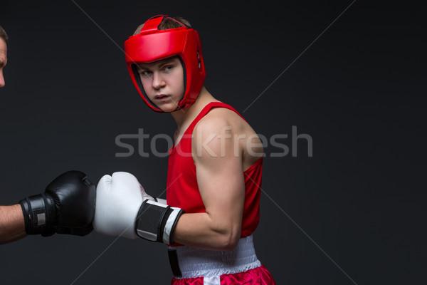 Photo stock: Jeunes · boxeur · rouge · forme · adolescent · casque