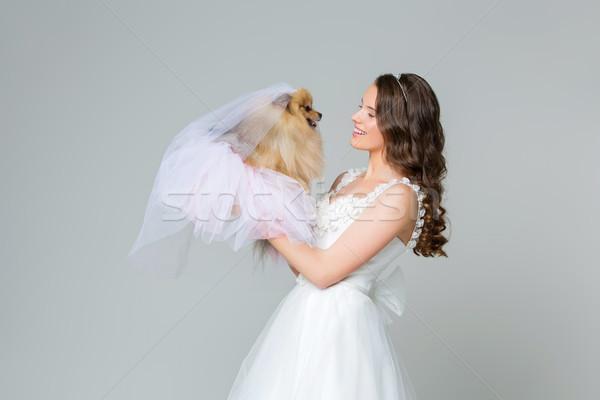 Bella sposa ragazza grigio Foto d'archivio © svetography