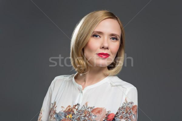 Gyönyörű középkorú nő középkorú szőke nő smink Stock fotó © svetography