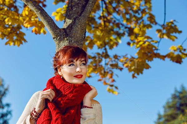 Beautiful girl standing outdoors near autumn tree Stock photo © svetography