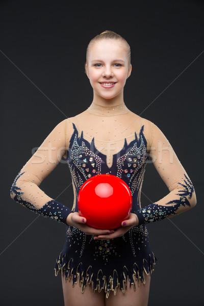 девушки красный мяча красивой черный Сток-фото © svetography