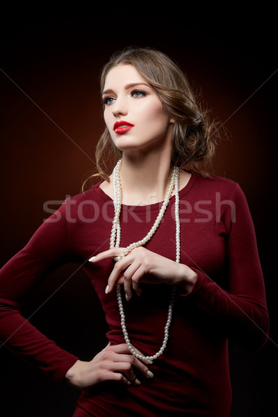красивая девушка Pearl ожерелье красивой красные губы Сток-фото © svetography