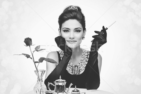 Beautiful young woman in retro style Stock photo © svetography