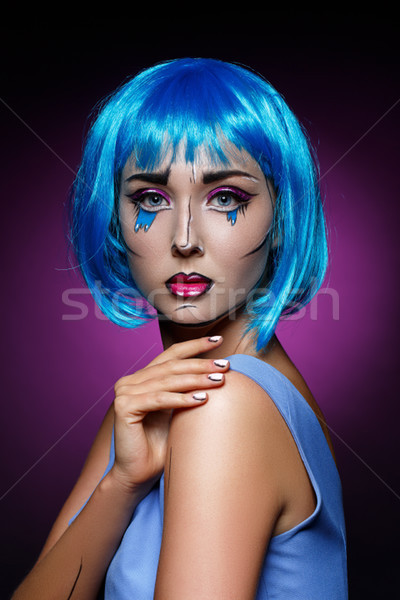 beautiful girl with pop art makeup Stock photo © svetography