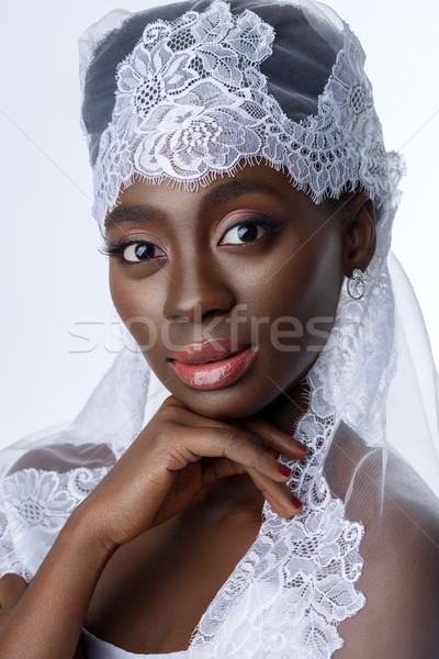 Gyönyörű fekete bőr menyasszony fiatal nő fehér Stock fotó © svetography