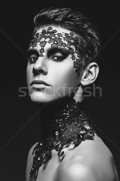 красивый молодым человеком кружево лице черный студию Сток-фото © svetography