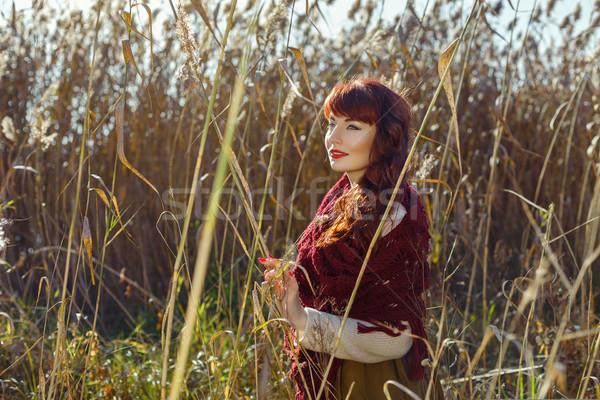 ストックフォト: 美少女 · 屋外 · 美しい · 若い女性 · 赤