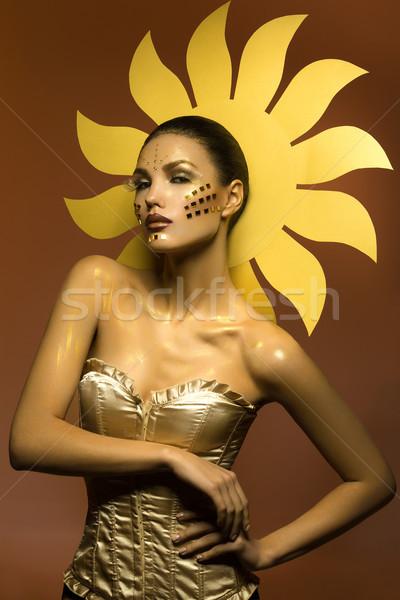 Güzel güneş kız genç kadın yaratıcı parlak Stok fotoğraf © svetography