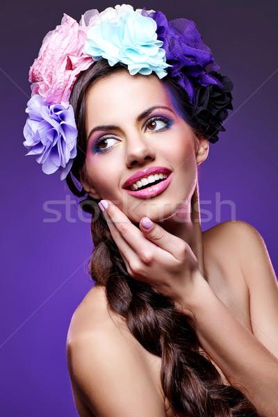 Piękna dziewczyna fioletowy makijaż piękna młoda kobieta oka Zdjęcia stock © svetography