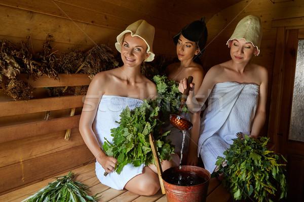 üç kızlar rahatlatıcı sauna güzel Stok fotoğraf © svetography