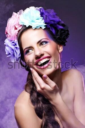 Güzel kız çiçekler saç güzel genç kadın sarı Stok fotoğraf © svetography