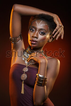 Beautiful black girl with crystal crown Stock photo © svetography