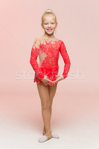 Beautiful girl gymnast in red leotard Stock photo © svetography