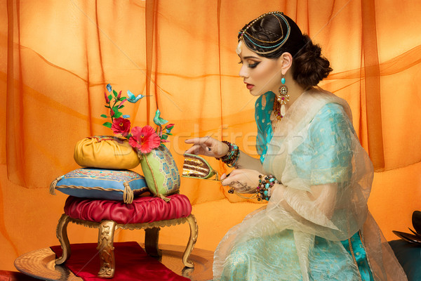Bride with wedding cake Stock photo © svetography