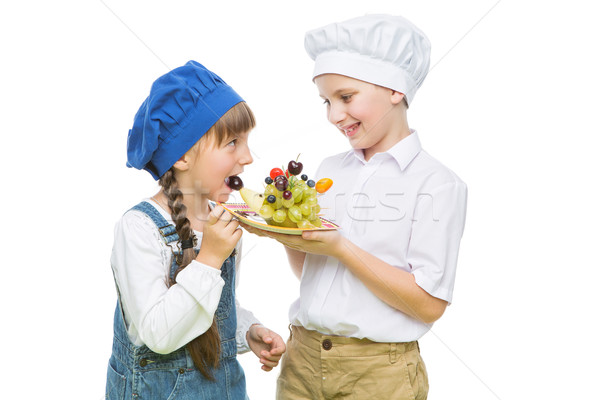 Photo stock: Enfants · hérisson · forme · fruits · casse-croûte