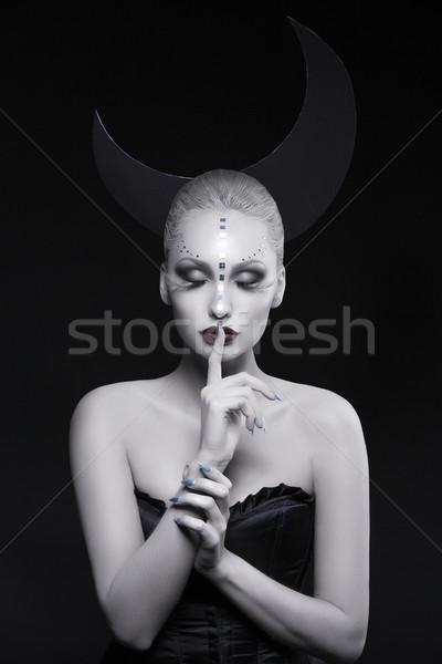 Beautiful moon girl Stock photo © svetography