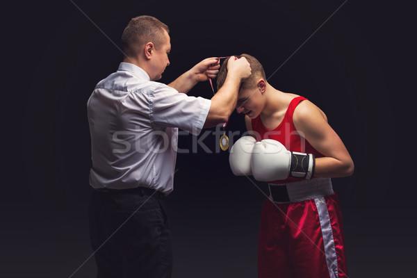 Box döntőbíró érem fiatal boxoló tini Stock fotó © svetography