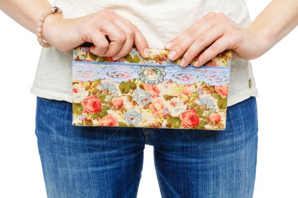 beautiful scrapbooking folder in woman hand Stock photo © svetography