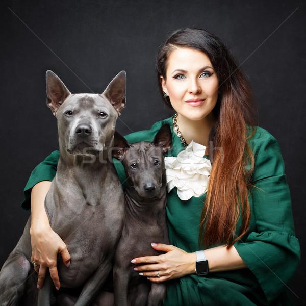 Сток-фото: женщину · два · собаки · красивой · тайский