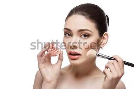 Gyönyörű lány tart bőrpír konténer gyönyörű fiatal nő Stock fotó © svetography