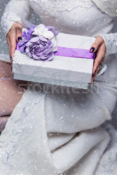 Bride holding present box Stock photo © svetography
