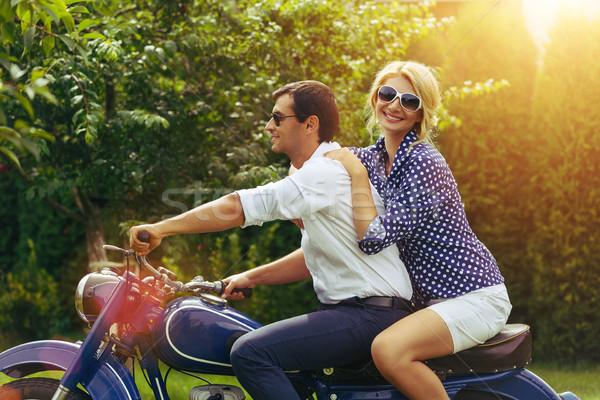 Piękna para retro motocykl piękna kobieta człowiek Zdjęcia stock © svetography