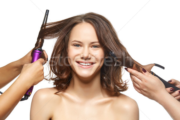 Foto stock: Beautiful · girl · cabelo · make-up · belo · mulher · jovem · estúdio