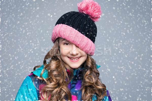 Beautiful girl in wool hat Stock photo © svetography