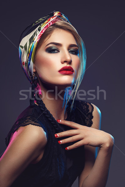 Beautiful girl with bright make-up and shawl on head Stock photo © svetography
