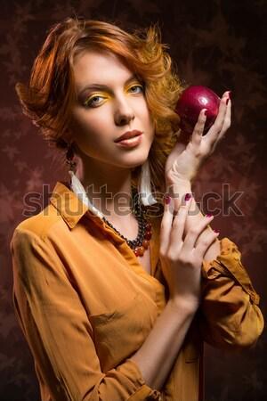 Kız elma güzel genç kadın parlak sarı Stok fotoğraf © svetography