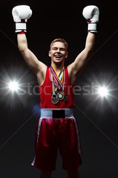 Tini boxoló sok medálok piros felső Stock fotó © svetography