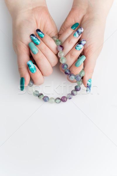 Foto stock: Mulher · mãos · colorido · unhas · criador