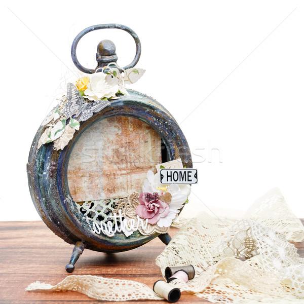 Kézzel készített fényképkeret gyönyörű papír részletek klasszikus Stock fotó © svetography