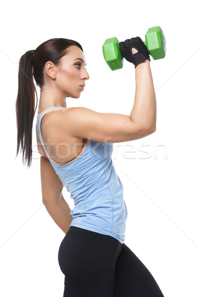 Sport woman with dumbbells Stock photo © svetography
