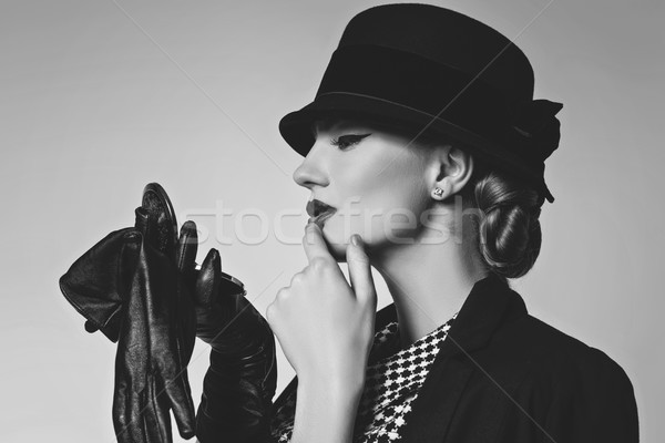 Beautiful woman in retro dress Stock photo © svetography