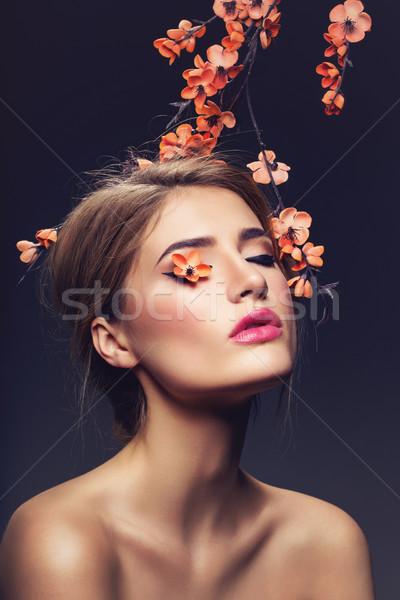 Beautiful girl sakura ramo belo mulher jovem make-up Foto stock © svetography