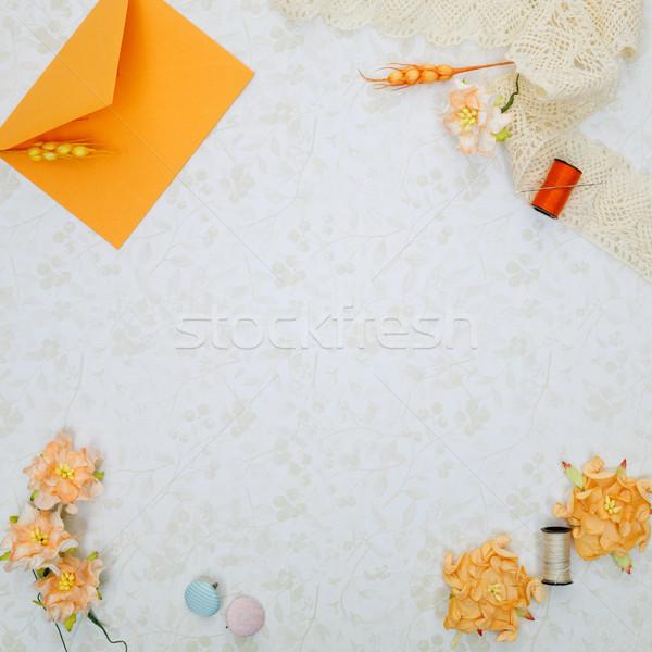 Zestaw materiały piękna pomarańczowy vintage kwiat Zdjęcia stock © svetography