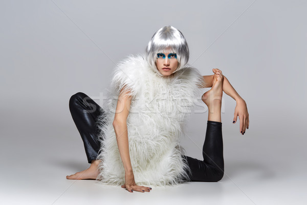 girl in silver wig with blue makeup Stock photo © svetography