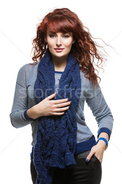 Woman with knitted wool scarf Stock photo © svetography