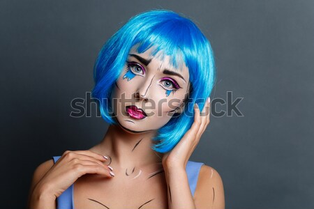 Beautiful girl in blue wig Stock photo © svetography
