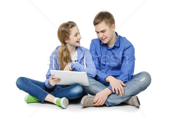 Genç erkek kız oturma güzel yaş Stok fotoğraf © svetography