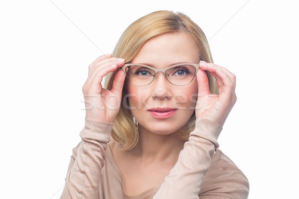 Bela mulher óculos belo lábios vermelhos retrato Foto stock © svetography