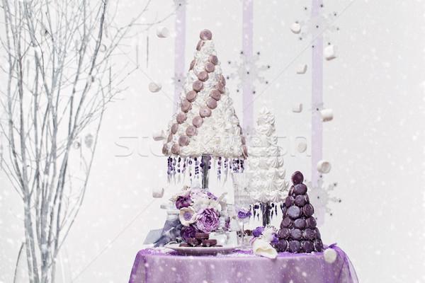Set of three wedding croquembouche cakes Stock photo © svetography