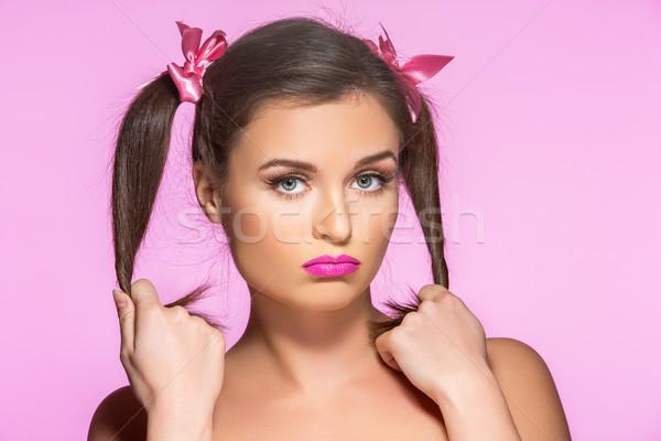 Kettő gyönyörű fiatal nő rózsaszín smink szépség Stock fotó © svetography