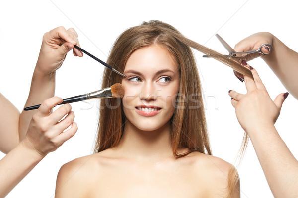 beautiful girl getting haircut Stock photo © svetography