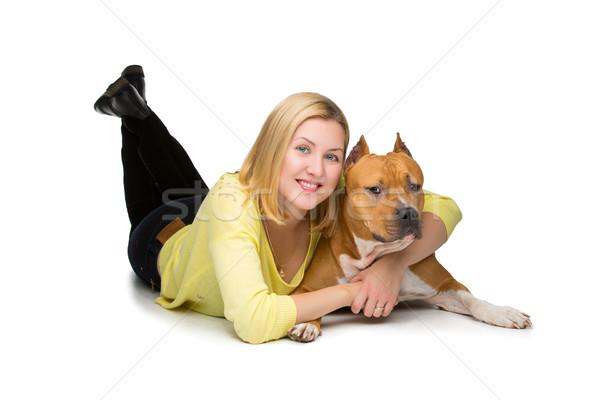 Lány kutya gyönyörű boldog fiatal nő ölel Stock fotó © svetography