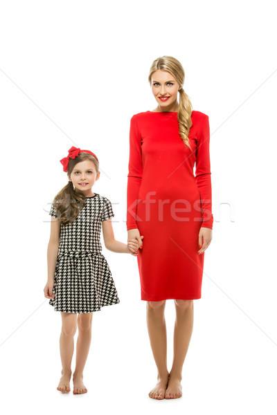 Stok fotoğraf: Güzel · anne · kız · mutlu · genç · kadın · sarışın