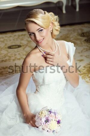Gelin güzel genç kadın gelinlik oturma Stok fotoğraf © svetography