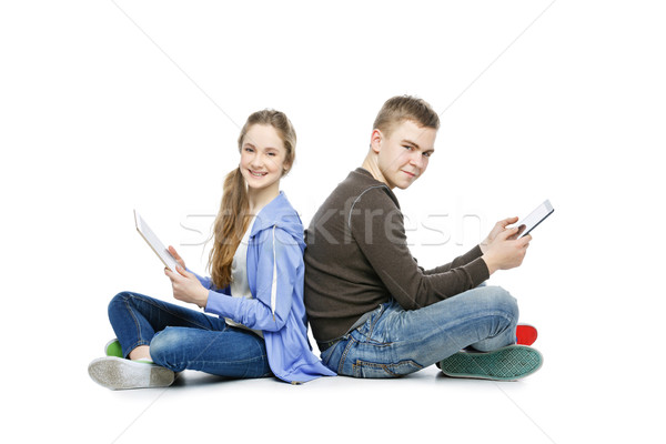 Teen boy and girl taking selfie photo Stock photo © svetography