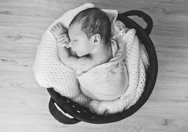 Aranyos újszülött baba gyönyörű alszik stúdiófelvétel Stock fotó © svetography